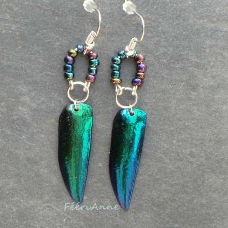 Boucles d'oreille fantaisie en ailes de scarabées bleues