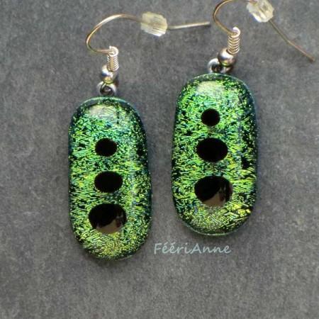 Boucle d'oreille fantaisie en verre de Murano dichroïque or et vert