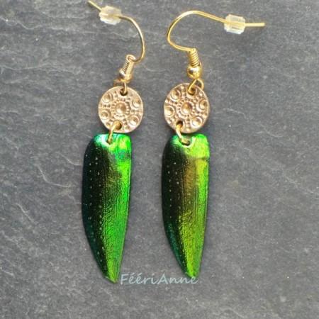 boucle d'oreille fantaisie aile de scarabée verte