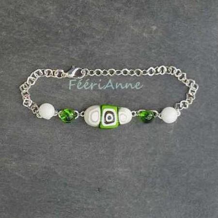 Bracelet fantaisie femme en verre de Murano vert et blanc
